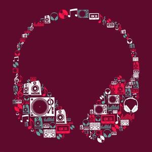 Dj Music Icon Set in Headphone Shape by Cienpies Design