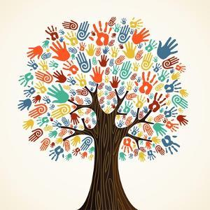 Isolated Diversity Tree Hands Illustration by Cienpies Design