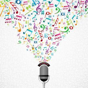 Microphone Colorful Music Notes Splash by Cienpies Design