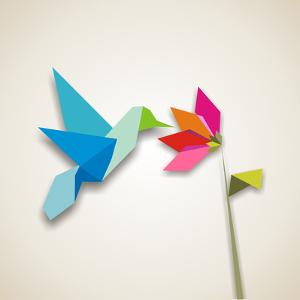 Origami Pastel Colors Hummingbird Vector File Available by Cienpies Design
