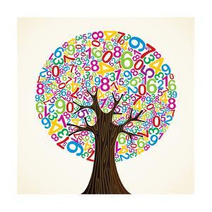 School Education Concept Tree Made with Numbers by Cienpies Design