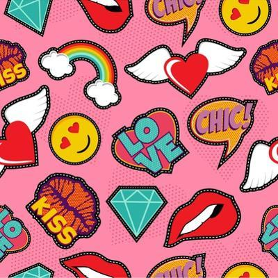 Seamless Pattern with Pink Girl Icons in Pop Art Style, Emoji, Love, and Rainbow Stitch Patches