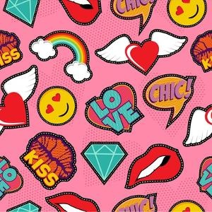 Seamless Pattern with Pink Girl Icons in Pop Art Style, Emoji, Love, and Rainbow Stitch Patches by Cienpies Design