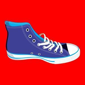 Single Blue Sneaker on Red. Available by Cienpies Design