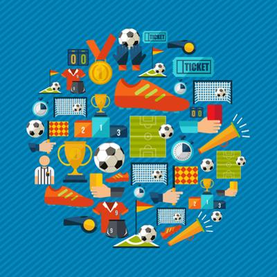 Soccer Champions Icons Set Shape Circle Organized in Layers for Easy Editing by Cienpies Design