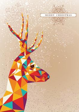 Merry Christmas Colorful Reindeer Illustration by cienpies