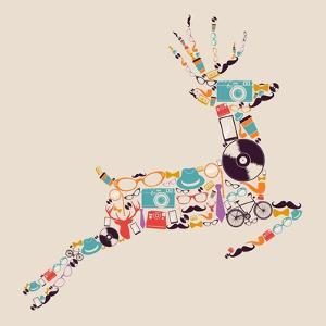 Retro Hipster Icon Reindeer by cienpies