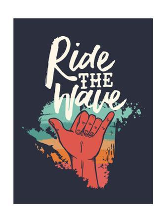 Ridew the Wave - Vintage Beach Surf Sign by cienpies