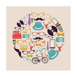 Vintage Hipster Icon Circle by cienpies