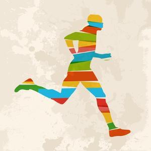 Vintage Multicolor Running Man by cienpies