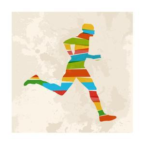 Vintage Multicolor Running Man by cienpies