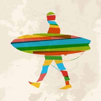 Vintage Multicolor Surfer by cienpies