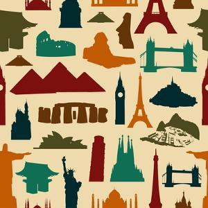 World Landmark Silhouettes Pattern by cienpies
