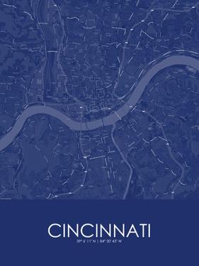 Cincinnati, United States of America Blue Map