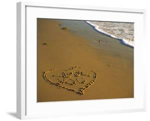 "Heart and ""Love You"" Carved Into Beach Sand with Tid by Cindy Mcintyre"