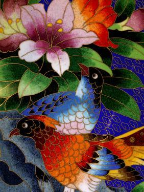 Bird Cloisonne Plate, Hand Made with Tiny Copper Wires and Powered Enamel, China by Cindy Miller Hopkins