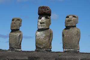 Chile, Easter Island, Rapa Nui NP, Ahu Tongariki. Moai with Pukao by Cindy Miller Hopkins