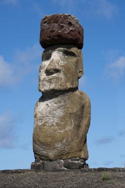Chile, Easter Island. Rapa Nui NP, Ahu Tongariki. Statue with a Pukao by Cindy Miller Hopkins