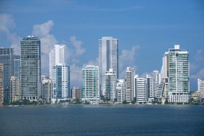 Colombia, Cartagena. Modern Boca Grande area city skyline view from Cartagena Bay. by Cindy Miller Hopkins