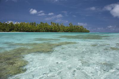 Cook Islands, Aitutaki. One Foot Island, Shallow Lagoon with Coral