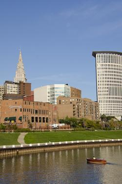 Cuyahoga River Skyline View of Downtown Cleveland, Ohio, USA by Cindy Miller Hopkins