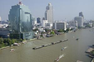 Downtown Bangkok Skyline View with Chao Phraya River, Thailand by Cindy Miller Hopkins