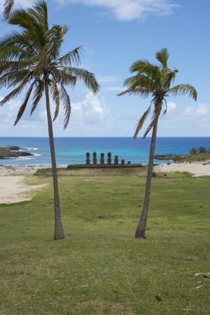 Easter Island. Rapa Nui NP, Anakena and Ahu Nau Nau. Moai Statues by Cindy Miller Hopkins