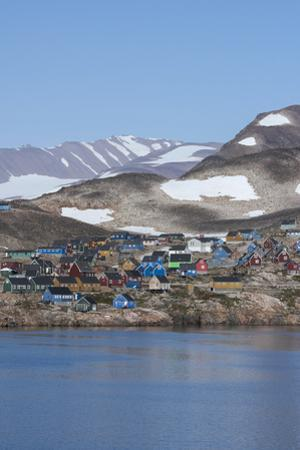Greenland, Scoresbysund, Ittoqqortoormiit. Coastal view of typical colorful houses of remote Greenl by Cindy Miller Hopkins