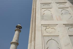 India, Agra, Taj Mahal. Ornate Marble Wall with Corner Tower by Cindy Miller Hopkins