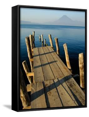 Lake Pier with San Pedro Volcano in Distance, Lake Atitlan, Western Highlands, Guatemala by Cindy Miller Hopkins