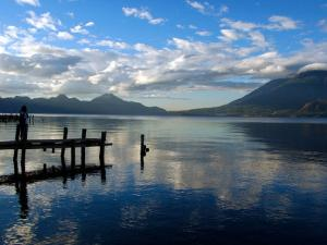 Morning on Lake Atitlan with Toliman Volcano, Panajachel, Solola, Western Highlands, Guatemala by Cindy Miller Hopkins