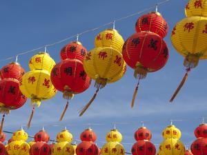 Red and Yellow Chinese Lanterns Hung for New Years, Kek Lok Si Temple, Island of Penang, Malaysia by Cindy Miller Hopkins