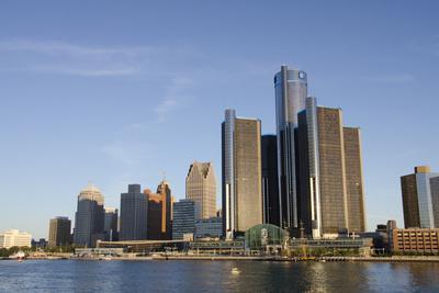 Sunrise over Downtown Detroit, Michigan, USA