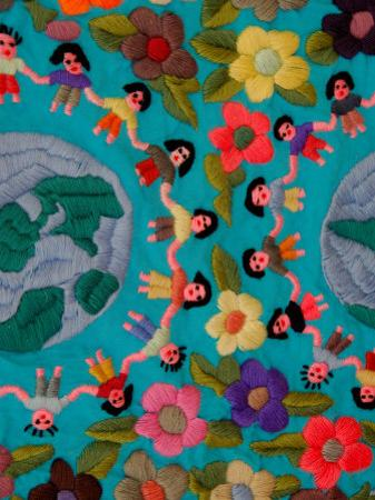 Textile with Children Holding Hands, Lake Atitlan, Western Highlands, Guatemala by Cindy Miller Hopkins