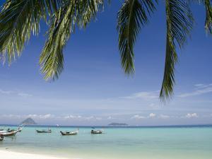 Thai Longboats Along the Coast of Phi Phi Don Island, Phuket, Andaman Sea, Thailand by Cindy Miller Hopkins