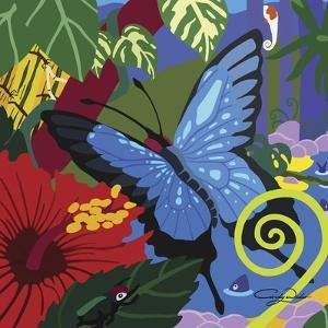 Tropical Blue Butterfly V3 by Cindy Wider