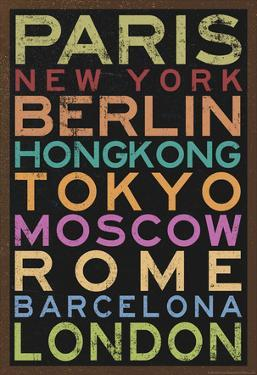 Cities of the World Colorful RetroMetro Travel Poster