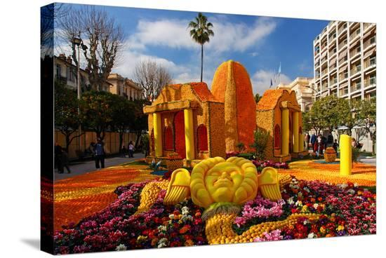 Citrus sculptures at Jardins Bioves in front of the Palais de l'Europe in Menton--Stretched Canvas Print