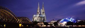 City at Dusk, Musical Dome, Cologne Cathedral, Hohenzollern Bridge, Rhine River, Cologne, North ...
