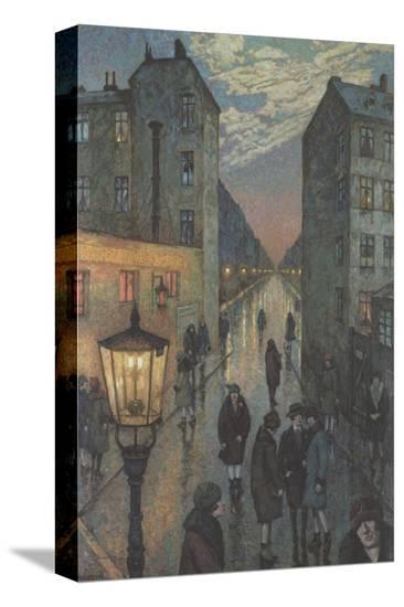 City Corner-Hans Baluschek-Stretched Canvas