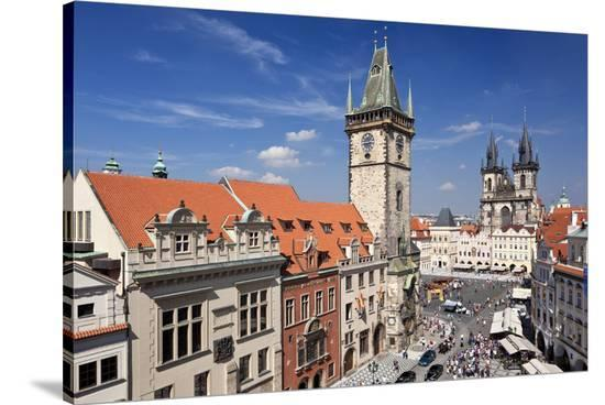 City Hall and Church of Our Lady Before Tyn on Old Town Square in Prague, Czech Republic--Stretched Canvas Print