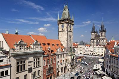 City Hall and Church of Our Lady Before Tyn on Old Town Square in Prague, Czech Republic