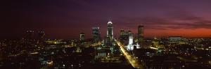 City Lit Up at Night, Indianapolis, Marion County, Indiana, USA
