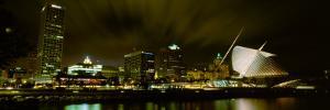 City Skyline with Milwaukee Art Museum at Night, Milwaukee, Wisconsin, USA