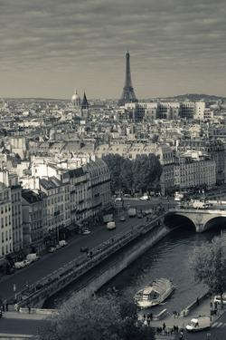 City with Eiffel Tower in the Background Viewed from Notre Dame Cathedral, Paris, Ile-De-France