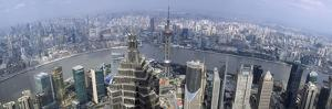 Cityscape with River Viewed from Jin Mao Tower, Huangpu River, Pudong, Shanghai, China 2010