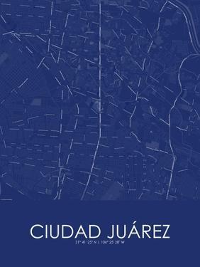 Ciudad Juarez, Mexico Blue Map