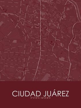 Ciudad Juarez, Mexico Red Map