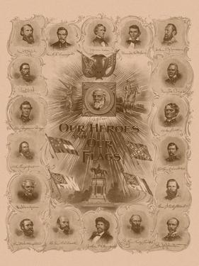 Civil War Print of General Robert E. Lee and Prominent Confederate Generals