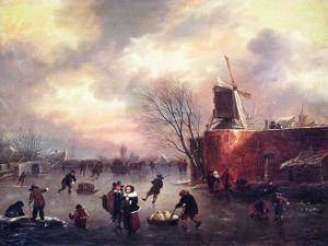 A Winter Skating Scene by Claes Molenaer